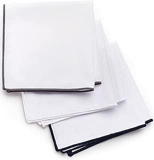3-Pk Pocket Square Set 100% Cotton, White, Navy Blue, Gray Borders Gift-Boxed