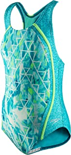 Girls' Swimsuit-Printed One Piece Thick Strap Racer Back, Capri Breeze