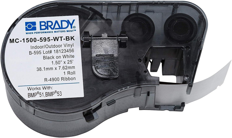 Brady Official (MC-1500-595-WT-BK) High Adhesion Vinyl Label Tap