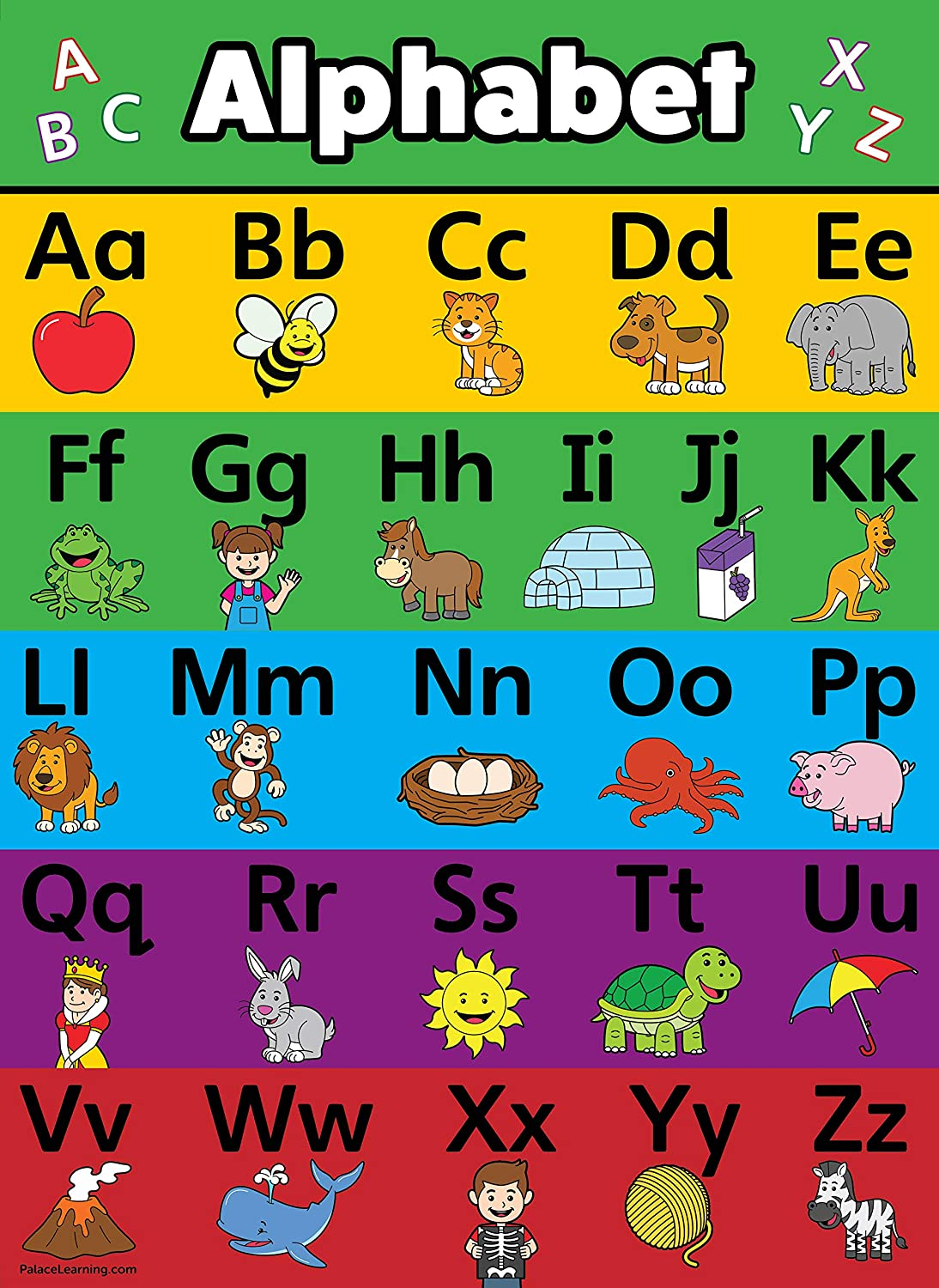 ABC Alphabet Poster Chart - LAMINATED Regular store 18 Double x Sided Cheap bargain 24