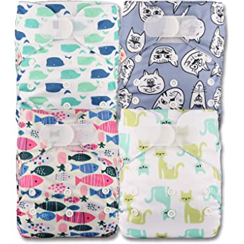 Littles /& Bloomz Reusable Pocket Cloth Nappy Fastener: Hook-Loop Patterns 314 Without Insert Set of 3