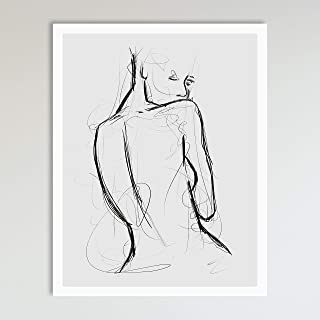Seduction, Grey and Black Abstract Nude Woman Drawing, Contemporary Wall Art For Bedroom and Home Decor, Black and Grey Modern Boho Art Print Poster For Her and Him 11x14 Inches, Unframed