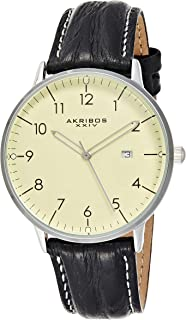 Akribos XXIV Men's Swiss Quartz Classic Date Watch, Luminous Hands and Markers- Genuine Leather Strap with Stitching