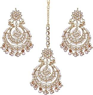 I Jewels Indian Bollywood Gold Plated Wedding Chandbali Kundan & Pearl Earring Set with Maang Tikka for Women