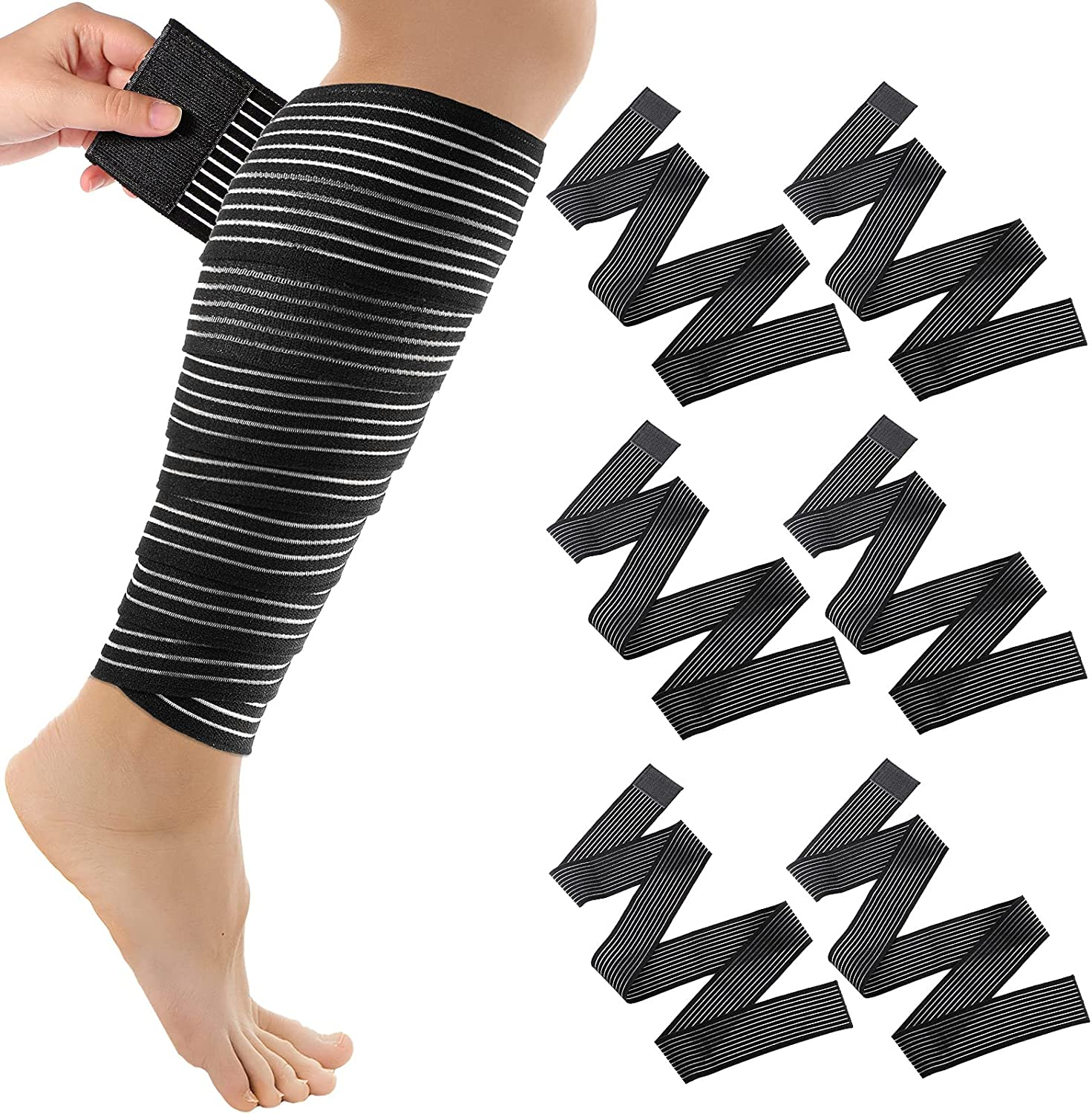 Elastic Calf Compression Bandage Leg Compression Sleeve for Men and Women, Compression Wraps Lower Legs for Stabilising Ligament, Joint Pain, Sport, Adjustable Black (6 Pieces,180 cm) : Health & Household