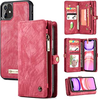 iPhone 11 Wallet Case, 2 in 1 Leather Zipper Detachable Magnetic 11 Card Slots Card Slots Money Pocket Clutch Cover with S...