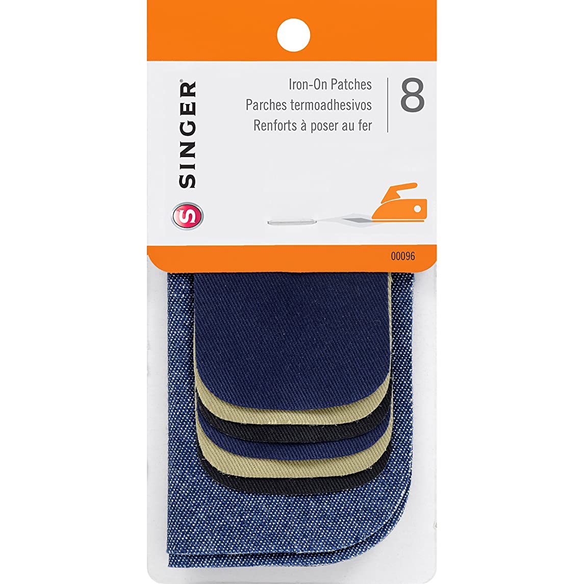 SINGER 00096 Iron-On Patches Combo, Repair Kit for Jeans and Pants, 8-Count