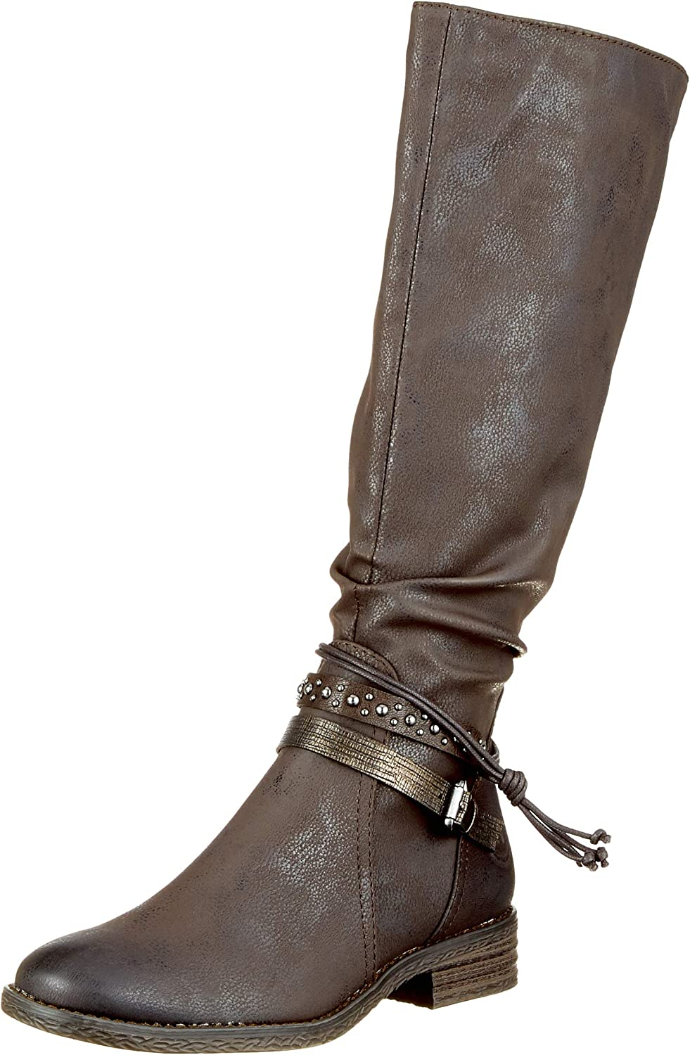 Marco Tozzi Women's Detailed Mocca Low Heel Mid-Calf Boot