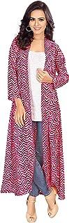 Serein Women's Shrug (Pink Geometric Print Georgette Shrug/Jacket with Full Sleeve)