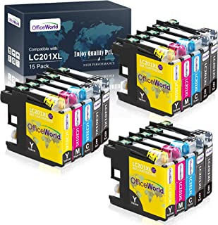 OfficeWorld Compatible Ink Cartridges Replacement for Brother LC 201 LC 203 LC201XL LC203XL, for MFC-J480DW MFC-J880DW MFC...