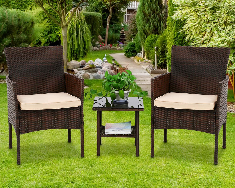 HGS Outdoor Wicker Bistro Set 3 本日限定 R Pieces Sets PE Furniture Patio メイルオーダー
