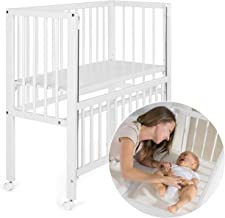 Fillikid Convertible Bedside Crib Vario 2in1 - Height Adjustable Bedside Cot with Wheels / 90 x 40 cm/Solid Beech Wood/Drop Side Rail/Fits Boxspring Beds - White