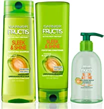 Garnier Hair Care Fructis Sleek & Shine Shampoo, Conditioner, and Anti Frizz Serum Treatment, For Frizzy, Dry Hair, Made With Argan Oil, Paraben Free, 1 Kit