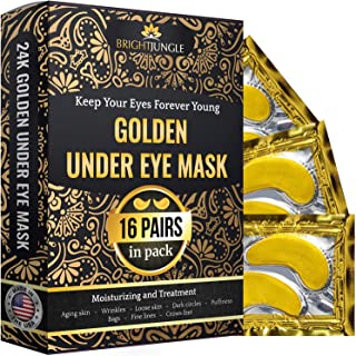 BrightJungle Under Eye Collagen Patch, 24K Gold Anti-Aging Mask, Pads for Puffy Eyes..