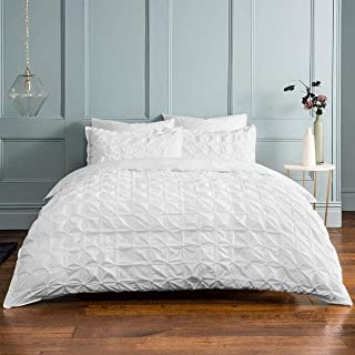 Sleepdown Rouched Pleats Bedding Duvet Set (White, King Size Bedding) Duvet Set with Pillowcases