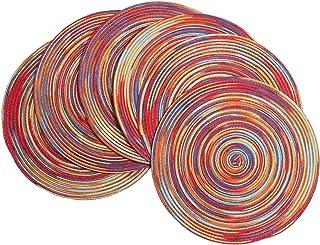 SHACOS Juego de 6 manteles Trenzado 38 cm manteles Redondo