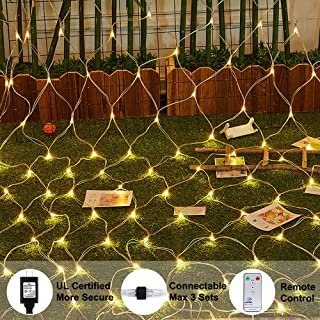 Ollny LED Net Mesh Fairy String Decorative Lights 200 LEDs 9.8ft x 6.6ft Tree-wrap Warm White Lights with Remote for Christmas Outdoor Wedding Garden Decorations