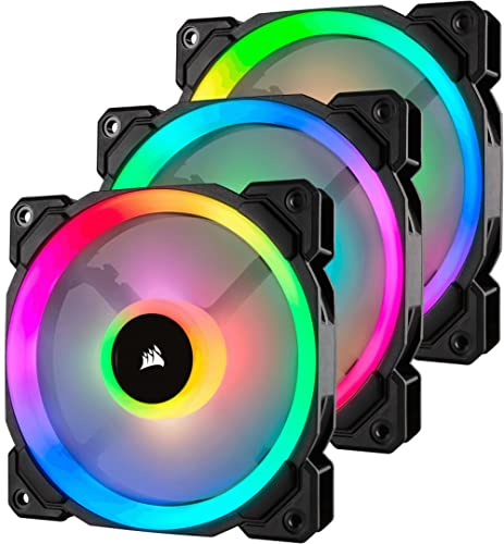 Corsair CO-9050072-WW LL Series LL120 RGB 120mm Dual Light Loop RGB LED PWM Fan 3 Fan Pack with Lighting Node Pro