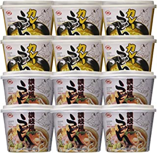 Fresh Udon Bowl, 8.29-Ounce Containers 6 Packs of Regular Flavor, and 6 Packs of Curry Flavor, Forks Included For Your Convenient Total (Pack of 12)