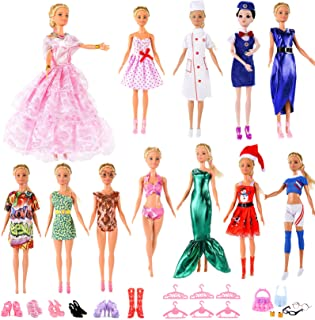 ANNI STAR Doll Clothes and Accessories fits Barbie Playset- 1 Wedding Dresses 1 Christmas Costume 4 Career Outfit ( Nurse ...