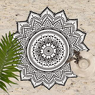 Sophia Art Large Round Lotus Flower Mandala Tapestry - 100% Cotton - Outdoor Beach Roundie - Hippie Gypsy Boho Throw Towel Tablecloth Wall Hanging Yoga/Picnic/Camping Mat (Black&White)