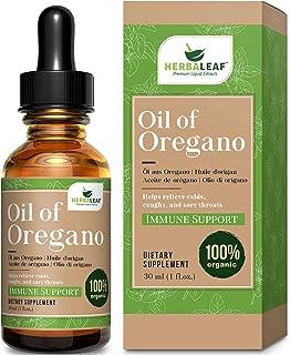 HERBALEAF Aceite de orégano, ayuda a aliviar los resfriados, la tos y el dolor de garganta. 1 oz / 29.53 ml