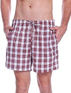 Pantalon de Pijama Hombre Corto de Algodon Pantalón de Casa Vearno Salón Pantalones de Dormir a Cuadros