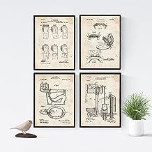Nacnic Vintage - Pack de 4 Láminas con Patentes del Vater. Set de Posters con inventos y Patentes Antiguas. Elije el Color Que Más te guste. Impreso en Papel de 250 Gramos