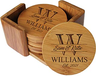 Custom Engraved Bamboo Wood Coasters - Personalized Coaster Set for Drinks, Weddings, Couples with Holder (Round Bamboo)