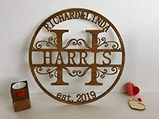 Custom Wood Family Last Name Sign Wooden Wedding Gift Initial Split Letter Laser Cut First Names Est Year Established Date Personalized Monogram Home Decor Front Door Hanger Wreath Housewarming Gift