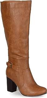 Womens Buckle Detail High-Heeled Boot