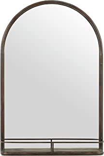 Stone & Beam Modern Round Arc Iron Hanging Wall Mirror With Shelf, 30 Inch Height, Dark Bronze