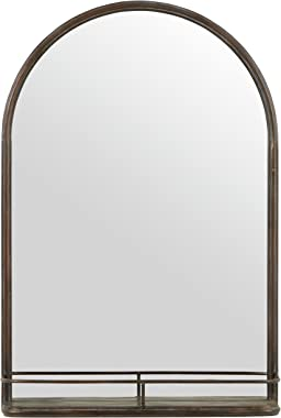 Amazon Brand – Stone & Beam Modern Round Arc Iron Hanging Wall Mirror With Shelf, 30 Inch Height, Dark Bronze