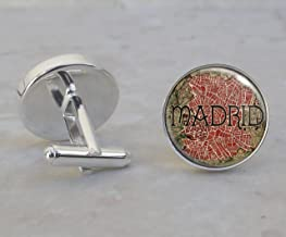 Madrid 1705 Map Sterling Silver Cufflinks