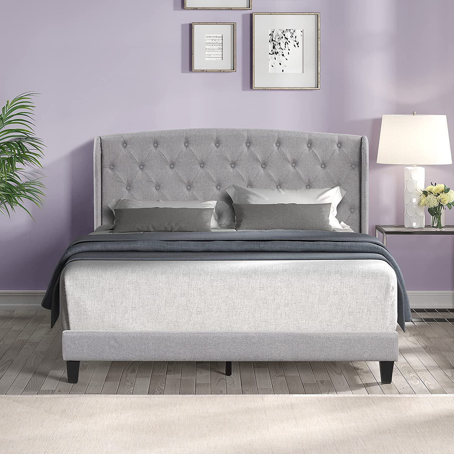 Max 49% OFF Upholstered Platform Bed Frame Lowest price challenge Mattress Plywood with Founation S
