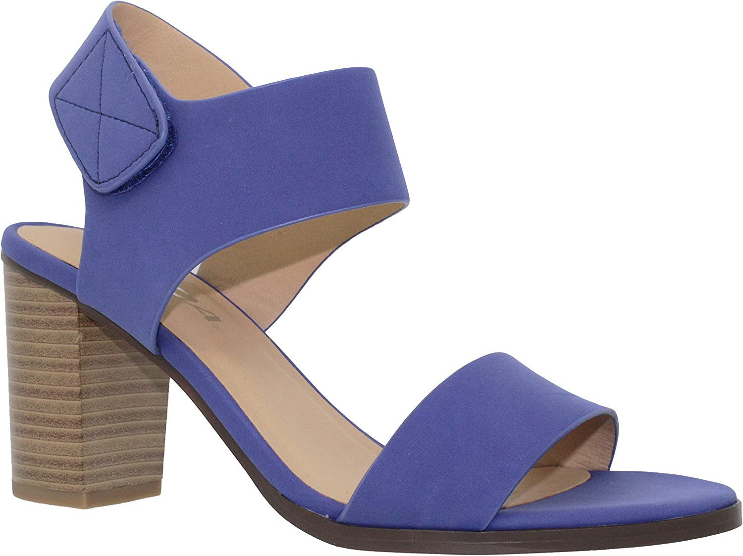 MVE shoes Women's Chunky Low Heel Strappy Sandal,Cobalt nb Size 10