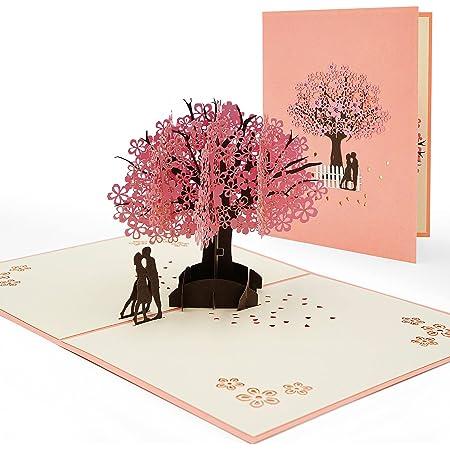 AIBAOBAO Carta di matrimonio, Biglietto d'anniversario 3D Pop Up Greeting Card, Biglietto d'auguri di San Valentino, Carta romantica degli amanti con coppie sotto l'albero di ciliegio per lei, Lui