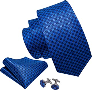 Barry.Wang Plaid Ties for Business,Check Mens Necktie Set with Hanky Cufflinks Classic