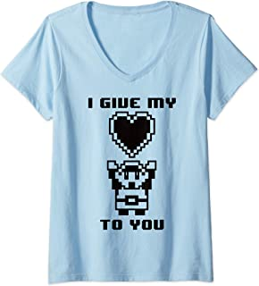 Womens Legend of Zelda Retro My Heart To You 8 Bit V-Neck T-Shirt