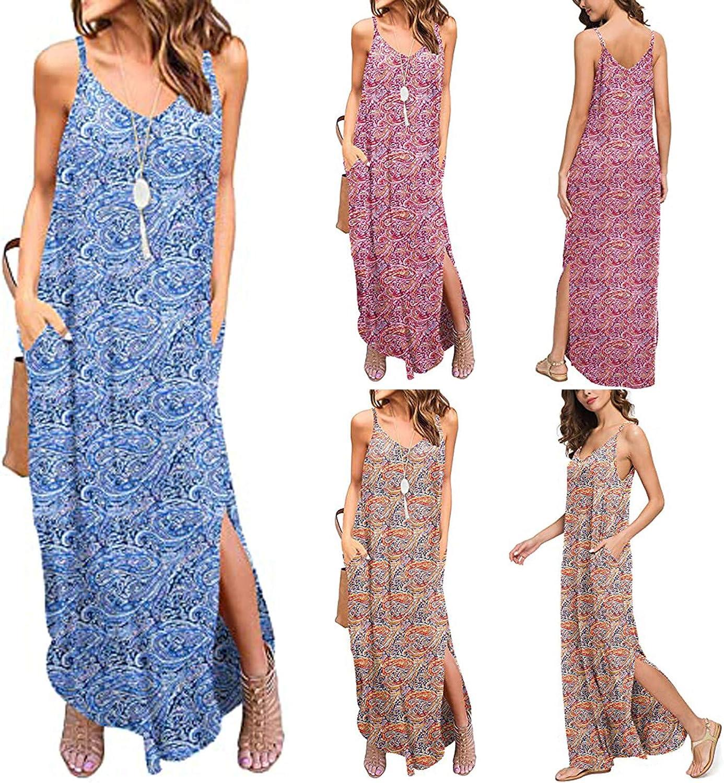 Jaqqra Summer Dress for Women Casual Loose Floral V Neck Pocket Long Maxi Dress Sleeveless Split Cover Up Boho Sundress