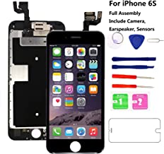 for iPhone 6S Screen Replacement Full Assembly [Black] - MAFIX LCD Display Digitizer 3D Touch Screen Kit (Include Proximity Sensor, Earpiece, Front Camera) with Repair Tool and Screen Protector