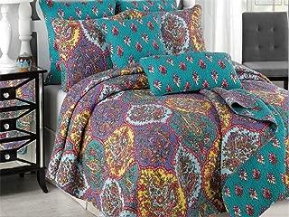 Tache Purple Turquoise Bohemian Floral Paisley Galore Damask Reversible 3 Piece Bedspread Quilt Set, Queen