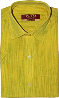 PRAKASAM COTTON Mens Regular Fit Half Sleeve Khadi Shirt (Khadi-Yellow-1420-Half Sleeve)