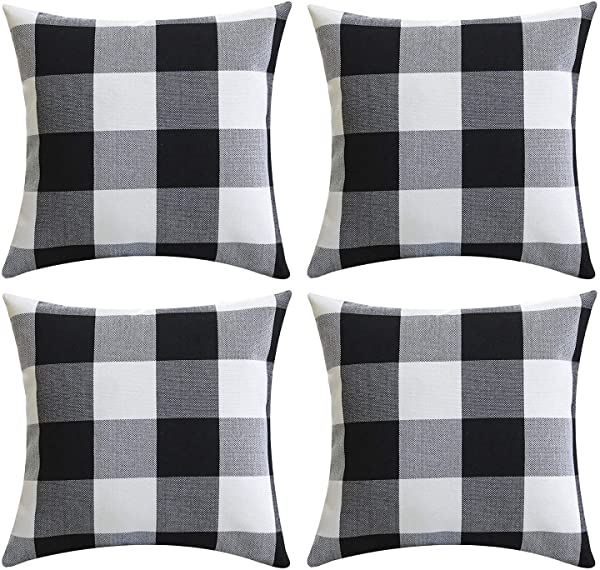Gysan Black And White Buffalo Checkers Plaids Linen Throw Pillow Covers Cushion Case 18 X 18 45cm X 45cm Set Of 4