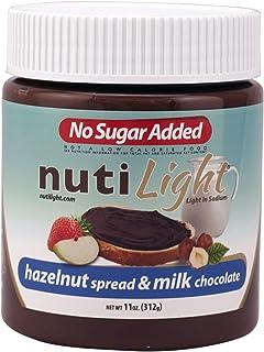 Nutilight No Sugar Added Keto-friendly Hazelnut Spread and Milk Chocolate 11 Ounces (Pack of 1)