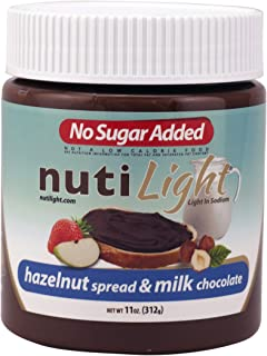 Nutilight No Sugar Added Keto-friendly Hazelnut Spread and Milk Chocolate 11 Ounces (Pack of 1)