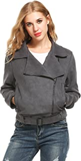 Women's Faux Leather Jacket Short Coat Outwear Asymmetric Zip Front Closure with Pockets