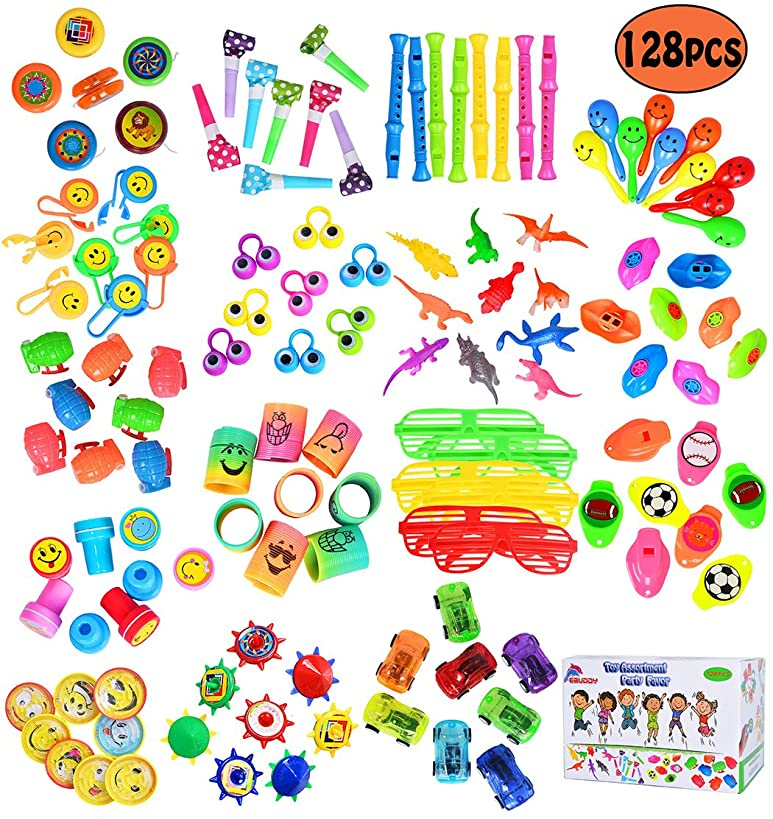 ebuddy 128Pc Carnival Prizes Toy Assortment Kids Party Favor, Birthday Party, School Classroom Rewards, Pinata, Christmas, Festival