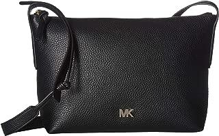 Michael Kors Junie Medium Top Zip Leather Messenger Crossbody - Black