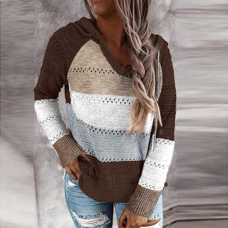 AODONG Long Sleeve Tops for Women,Long Sleeve Knit Sweater Hoodie Jacket Lightweight Drawstring Color Block Sweatshirt